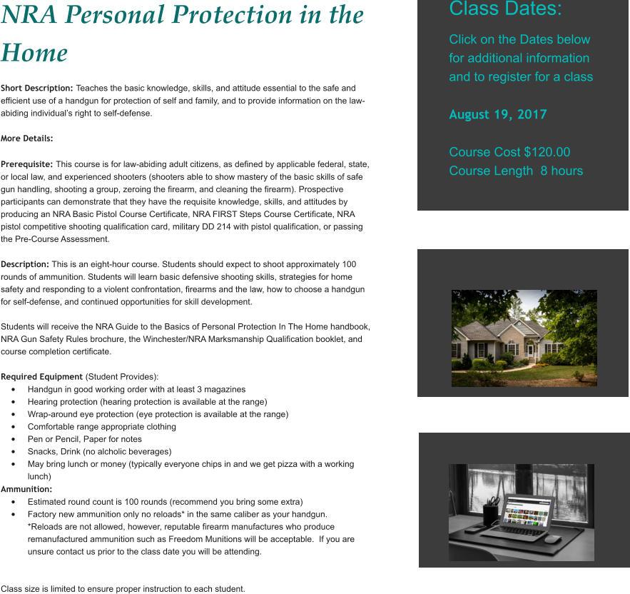 NRA Personal Protection in the Home take classes in Plant City near ...